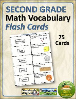 Math Vocabulary Words Practice and Review Flash Cards for 2nd Grade - Test Prep
