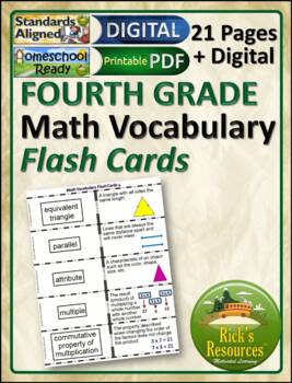 Math Vocabulary Words Practice and Review Flash Cards for 4th Grade - Test Prep