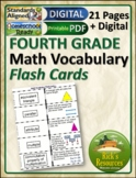 Math Vocabulary Activity Flash Cards 4th Grade
