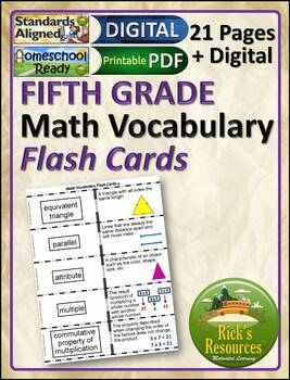 Math Vocabulary Words Practice and Review Flash Cards for 5th Grade - Test Prep