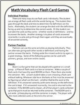 Math Vocabulary Activity Flash Cards 5th Grade
