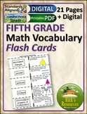 Math Vocabulary Activity Flash Cards 5th Grade