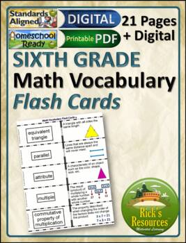 Math Vocabulary Words Practice and Review Flash Cards for 6th Grade - Test Prep