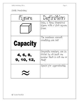 Math Vocabulary Flashcards Set 2