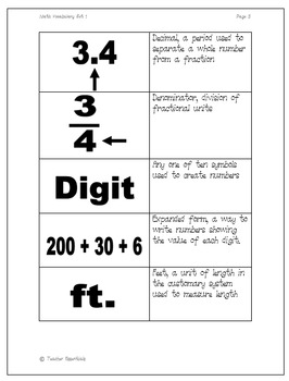 Math Vocabulary Flashcards Sets 1,2, 3, and 4