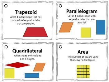 Math Vocabulary Flashcards (shapes, symbols, money, time, and measurement)