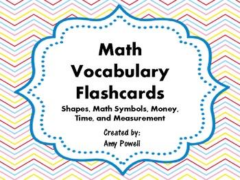 Math Vocabulary Flashcards (shapes, symbols, money, time,