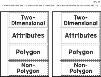 Math Vocabulary Flip Flaps for Student Journals and Interactive Notebooks