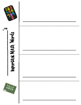 Math Vocabulary Foldable