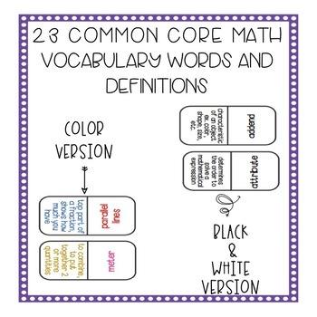 Math Vocabulary Game Dominoes