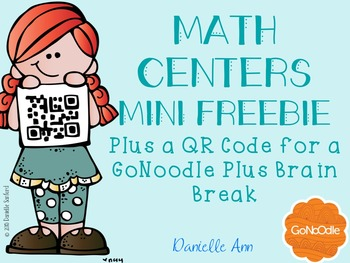 Math Centers Freebie and a GoNoodle Plus Link