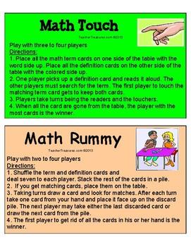 Math Vocabulary Games 3-5