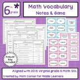 Math Vocabulary Grade 6 Viginia