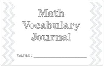 Math Vocabulary Graphic Organizer Journal
