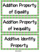 Math Vocabulary Heads Up or Word Wall