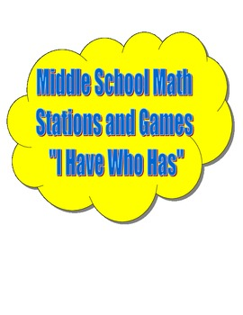 Common Core Math Vocabulary I Have Who Has