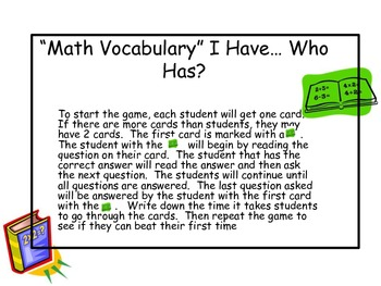 """Math Vocabulary"" I have... Who has?"
