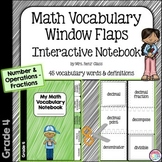 Math Vocabulary Interactive Notebook Foldable Fractions  (Grade 4)