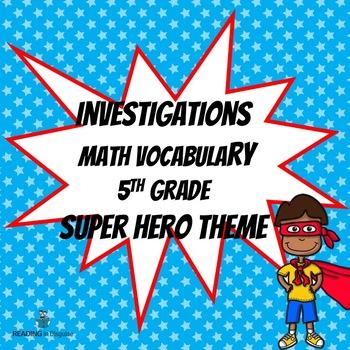 Math Vocabulary:  Investigations 5th grade