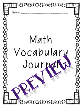 Math Vocabulary Journal