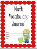 Math Vocabulary Journal: Elementary Friendly