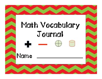 Math Vocabulary Journal - Elementary and Middle