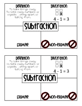 Math Vocabulary Journal Graphic Organizers