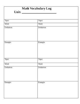 Math Vocabulary Log sheet