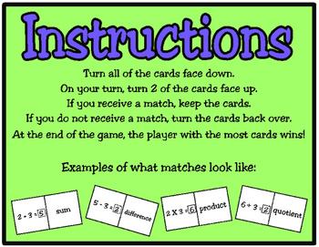 Math Vocabulary Match