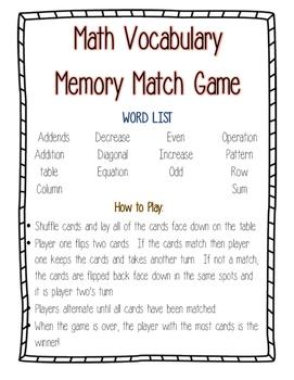 Math Vocabulary Match Game--Operations and Algebraic Thinking