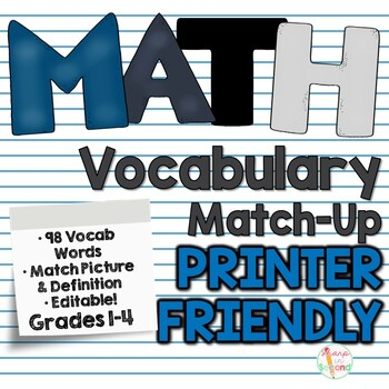 Math Vocabulary Match Up *BUNDLED*