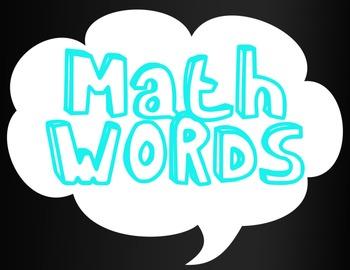 "Math Vocabulary ""Math Words"" Poster"
