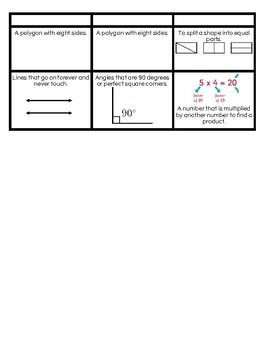 Math Vocabulary Memory Game