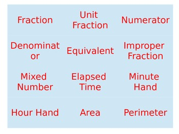 Math Vocabulary Memory Game--Fractions, Time, Area