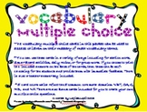 Math Vocabulary Multiple Choice Cards
