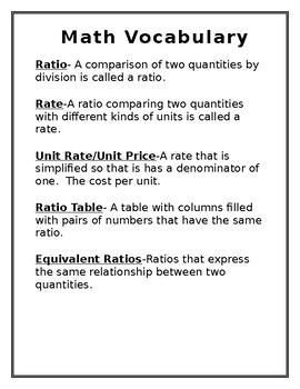 Math Vocabulary Notes- Ratios/Rate