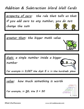 Math Vocabulary Packet - Addition & Subtraction