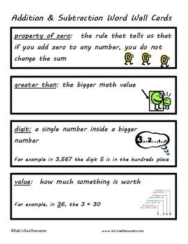 Math Vocabulary Unit - Addition & Subtraction
