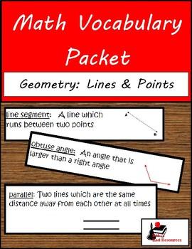 Math Vocabulary Unit - Geometry: Lines & Angles