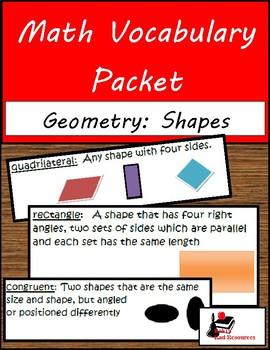Math Vocabulary Packet - Geometry: Shapes