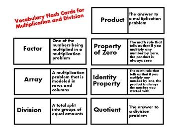 Math Vocabulary Unit - Multiplication & Division