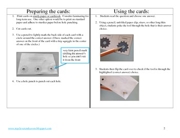 Math Vocabulary Poke Cards 4th grade CCSS aligned