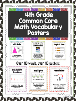 Math Vocabulary Posters (Common Core 4th Grade)