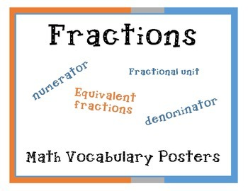 Math Vocabulary Posters - Fractions