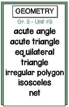 Math Vocabulary Posters - Grade 5 Math Makes Sense