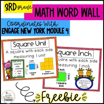 Math Word Wall Posters for Area Grade 3 Module 4 Engage New York FREEBIE