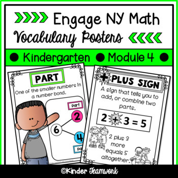 Math Vocabulary Posters for Engage New York Kindergarten, Module 4