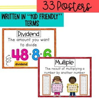 Math Vocabulary Posters Multiplication & Division Module 1 & 3 Engage New York