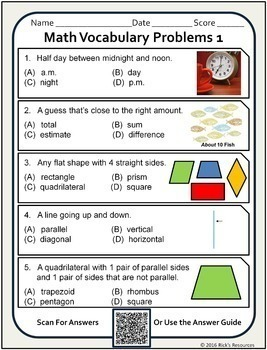 Math Vocabulary Words Practice and Review Worksheets for 2nd Grade - Test Prep