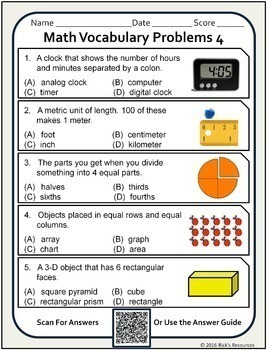 Math Vocabulary Activity Worksheets 2nd Grade by Rick's Resources